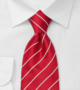 Bright Red and White Striped Tie for Kids