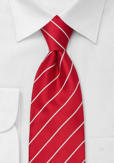 Bright Red Striped Tie in Extra Long