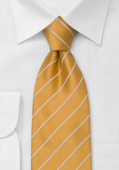Extra Long Necktie in Amber-Yellow