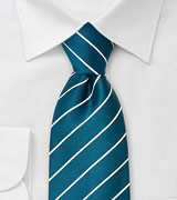 Striped men's ties Turquoise blue necktie