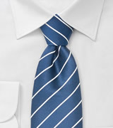 Modern striped ties Royal blue necktie with fine white stripes