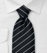 Black and Silver Clip On Tie