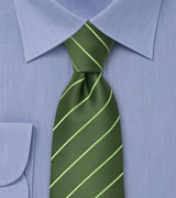 Green men's ties Green striped necktie