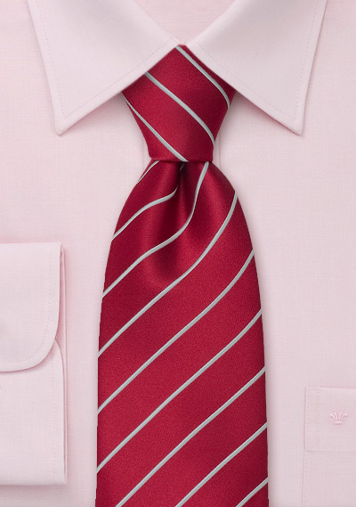 Striped Men\'s Ties<br>Red tie with fine silver stripes