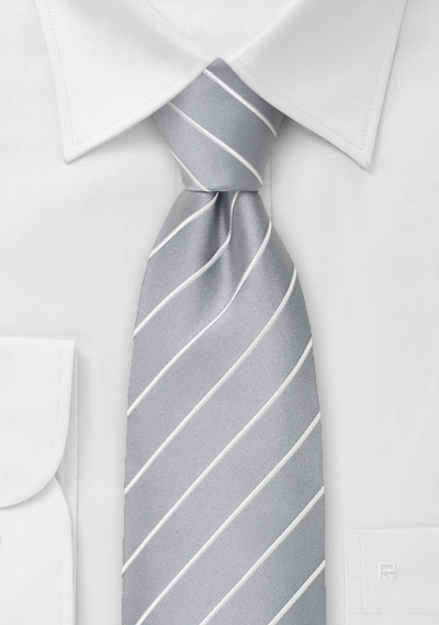 Formal Silver Striped Tie in XL Length