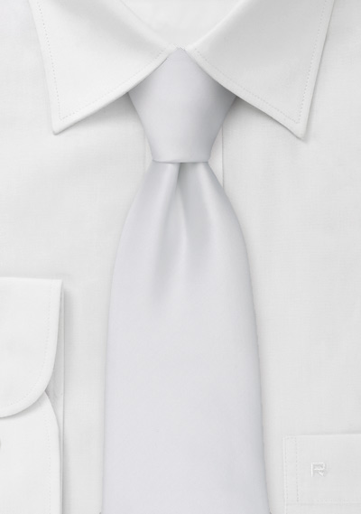 Extra long ties<br>Solid white XL necktie