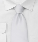 Extra long ties Solid white XL necktie