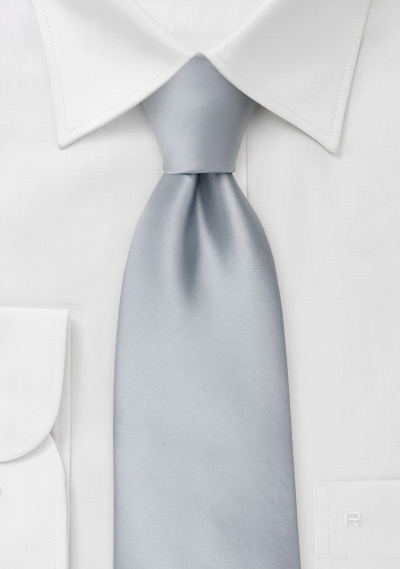 Extra long ties<br>Solid silver XL necktie