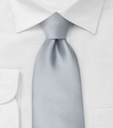 Extra long ties Solid silver XL necktie