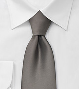 Solid Gray Tie in Extra Long