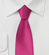 Solid Skinny Tie in Bright Fuchsia Pink
