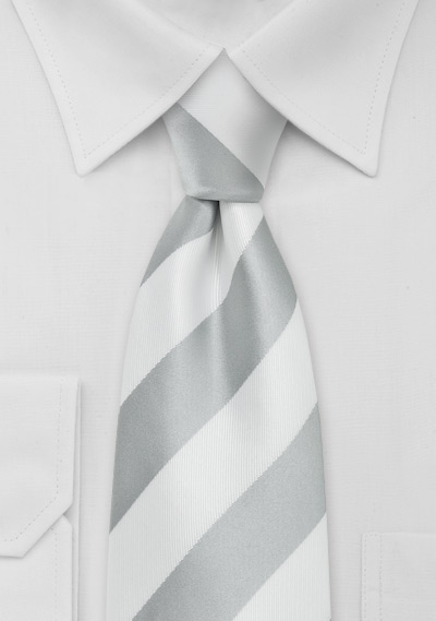 Silver and White Necktie