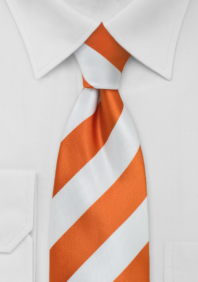 Bright Orange White Kids Tie