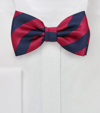 Navy and Red Striped Bow Tie