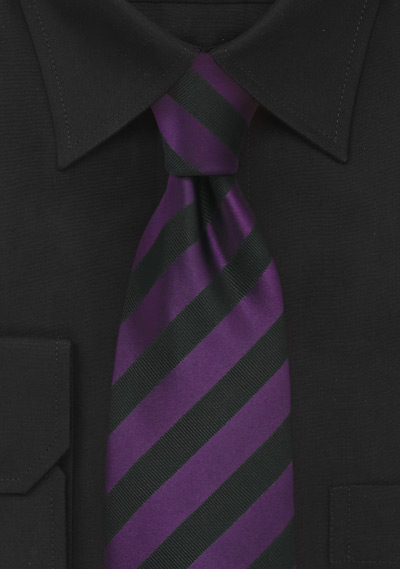 Black and Purple Striped Tie in Long Length