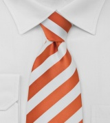 Kids Striped Tie in Tangerine and White
