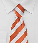 Orange and White Striped Tie in Long Length