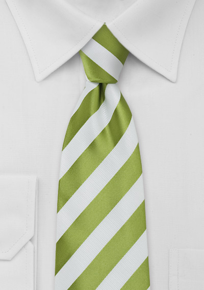 XL  Bright Green and White Striped Tie