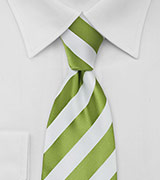 Bright Green and White Striped Tie