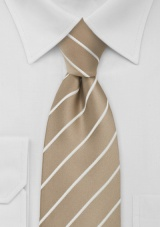 Beige Striped Extra Long Necktie