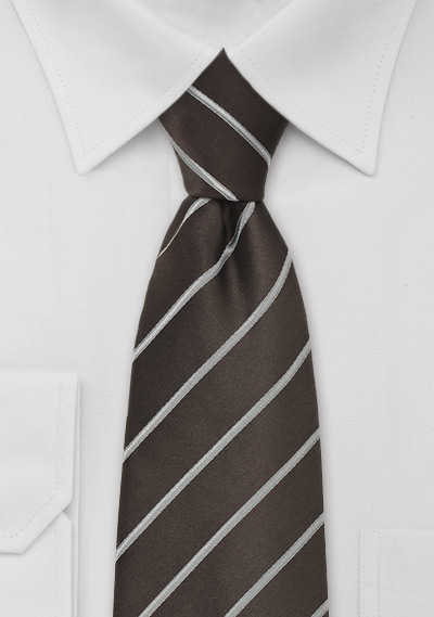 Dark Brown Tie with Silver Stripes