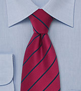 Striped Tie in Raspberry and Navy