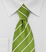 Chartreuse Green Striped Necktie