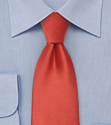 Dark Orange Necktie in Extra Long Length