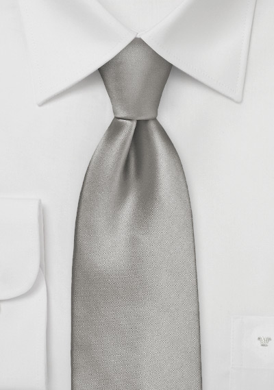Solid Mercury Silver XL Length Tie