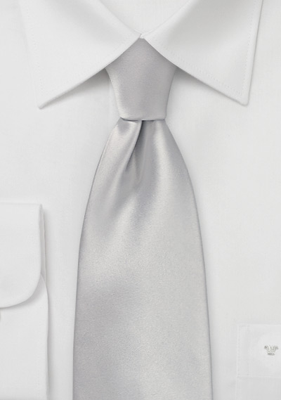 Light Platinum Silver XL Length Tie