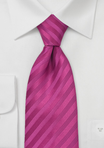 Raspberry Pink Striped Tie