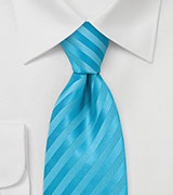 Aqua Blue Striped Tie in Extra Long Length
