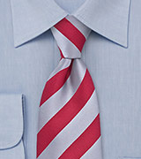 Mens Tie in Red and Silver