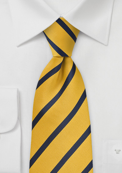 XL Regimental Striped Tie in Yellow and Navy