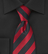 Black and Red Striped Clip-On Tie