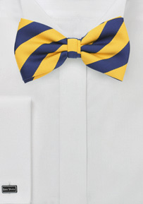 Navy and Yellow Striped Bow Tie