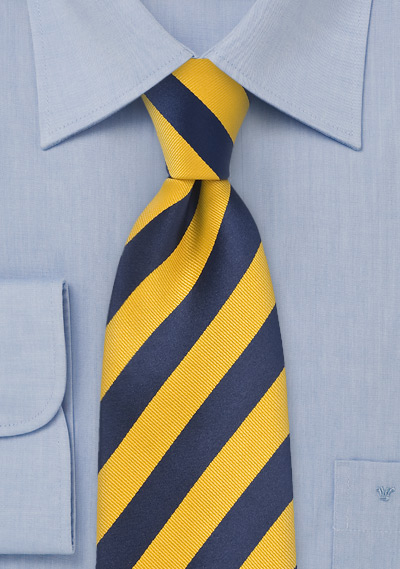 Regimental Yellow and Blue Tie for Kids