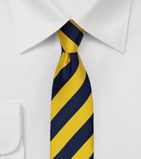 Skinny Striped Tie in Navy and Yellow