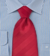 Striped Tie in Proper Red Made in XL Length