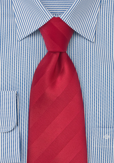 Tonal Striped Tie in Proper Red