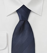 XL Striped Tie in Midnight Blue