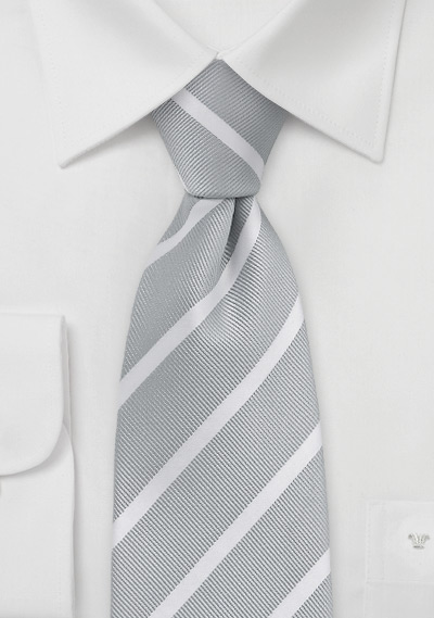 Silver and White Repp Stripe Tie in Kids Size