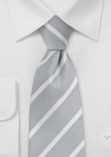 Silver and White Striped Tie in XL
