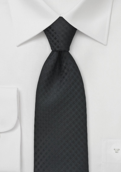 Black Textured Gingham Tie for Kids