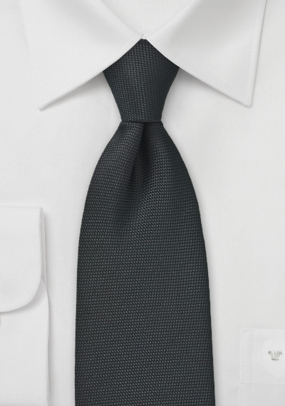 Matte Pique Textured Kids Tie in Black