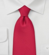 Bright Red Tie in XL Length with Textured Fabric