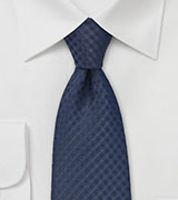 Solid Gingham Check Kids Length Tie in Navy