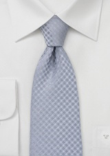 Gingham Check Kids Tie in Classic Silver Gray