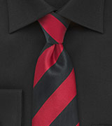 Bold Black and Red Striped Necktie