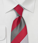 Wide Striped Necktie in Red and Silver